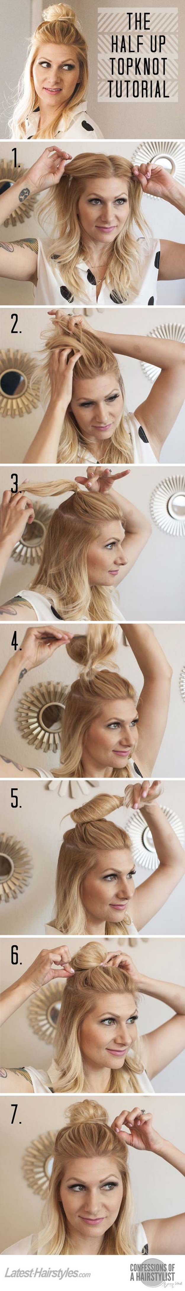 Cool and Easy DIY Hairstyles – The Half Up Top Knot – Quick and Easy Ideas for Back to School Styles for Medium, Short and Long Hair – Fun Tips and Best Step by Step Tutorials for Teens, Prom, Weddings,…