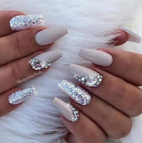 Sparkly Coffin Nail Design #AcrylicNailsShort Source by 0h_its_jamie_x   …
