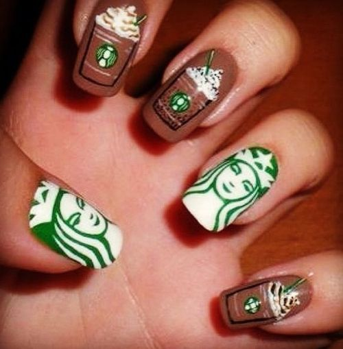 Starbucks Nails–finally a crazy nail design I could go for! Source by dynamic_dancers   …