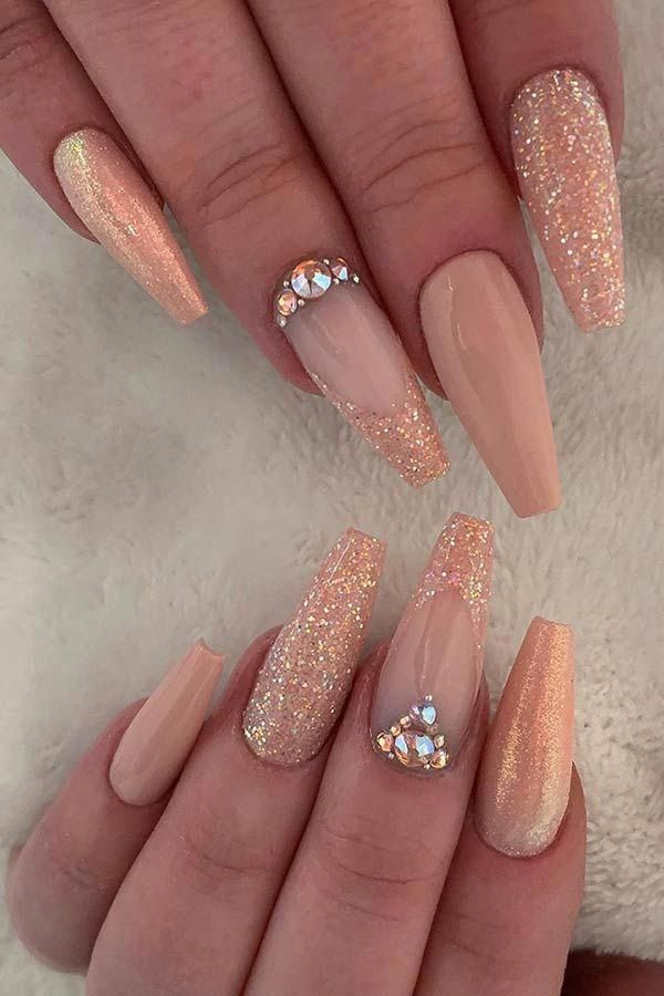 Nude and Glitter Coffin Nail Design #coffinnails Source by carmenschaik   …