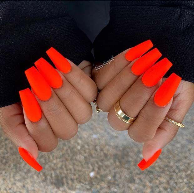 Matte Neon Orange Nails Source by yasminewillemse   …