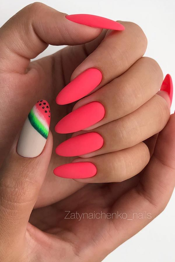 Matte Watermelon Nail Design #summernails #watermelonnails