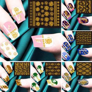 Cn _ 10 Feuilles Doré Ton Art Ongles Pointe Autocollants Fleur Manucure  Price : 1.06  Ends on :   Voir sur eBay   …