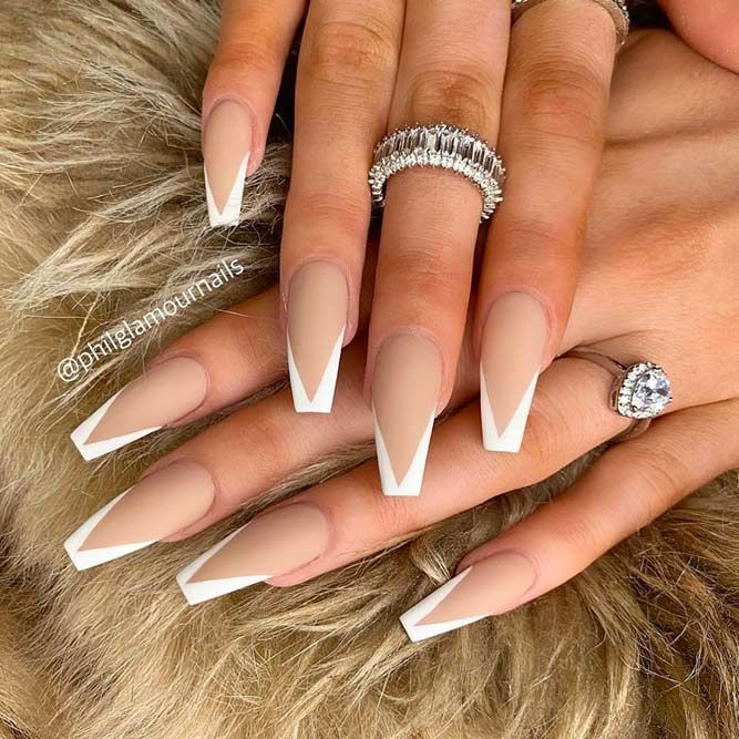 Coffin Tip Nails With White French Manicure  ❤ 30 Coffin Nail Designs You'll Want To Wear Right Now   ❤ See more ideas on our blog!!! #naildesignsjournal #nails #naildesigns