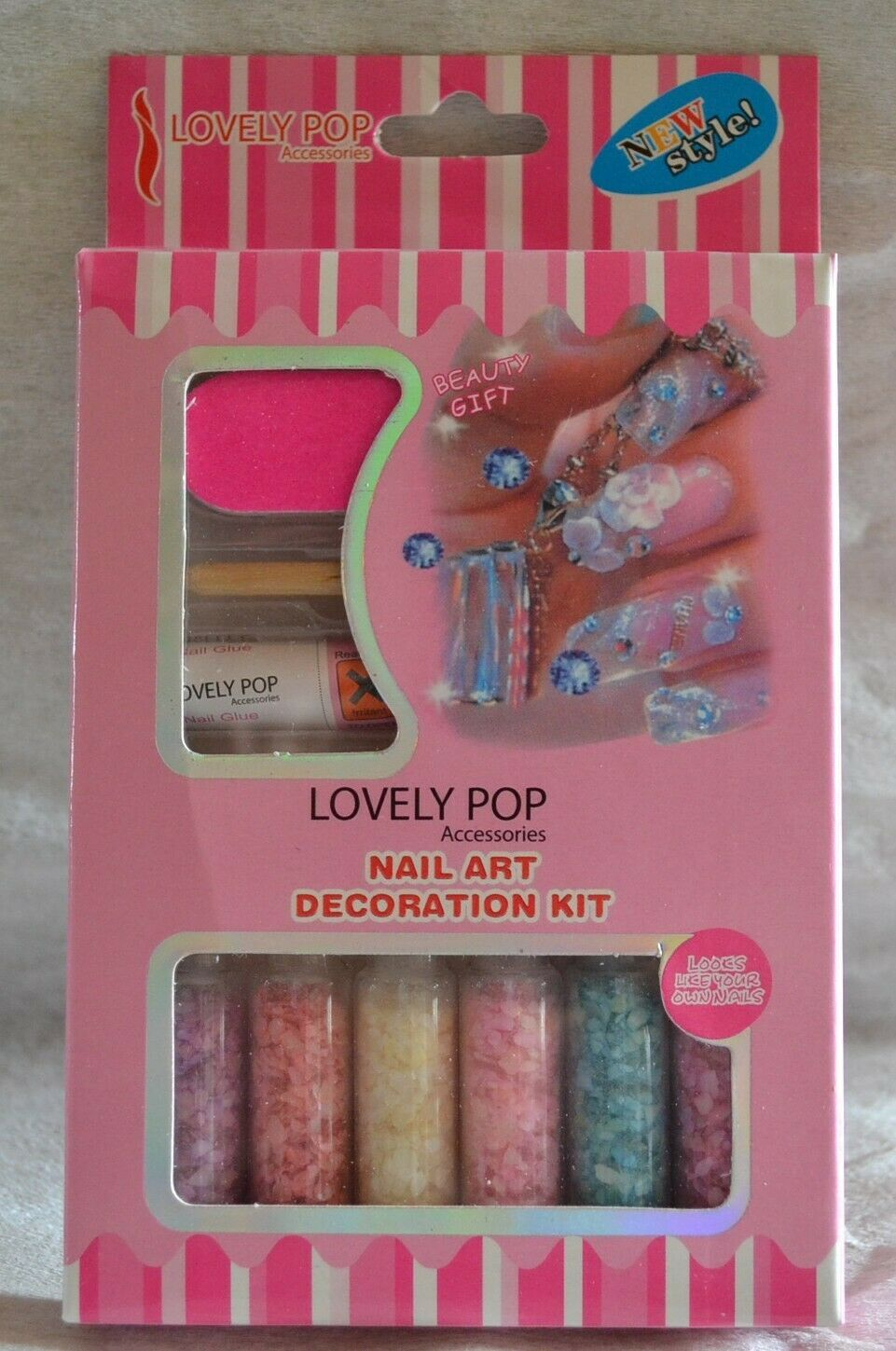 KIT DECORATION ONGLES NAIL ART LOVELY POP PAILLETE